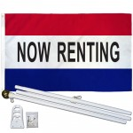 Now Renting Patriotic 3' x 5' Polyester Flag, Pole and Mount