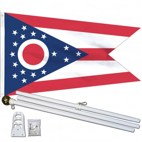 Ohio State 3' x 5' Polyester Flag, Pole and Mount