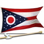 OHIO 3' x 5'  Flag, Pole And Mount.