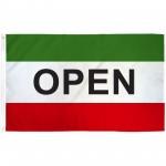 Open Green 3'x 5' Business Flag