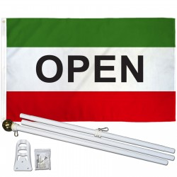 Open Green 3' x 5' Polyester Flag, Pole and Mount