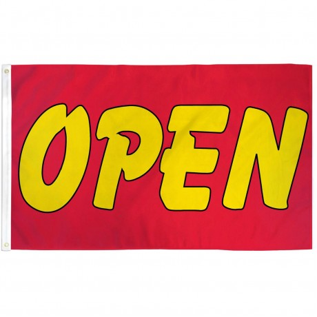 Open Red Yellow Bubble 3' x 5' Polyester Flag