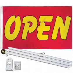 Open Red Yellow Bubble 3' x 5' Polyester Flag, Pole and Mount