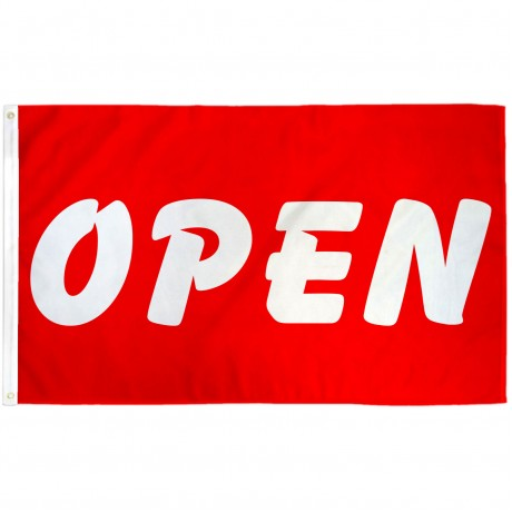 Open Red White Bubble Letters 3' x 5' Polyester Flag