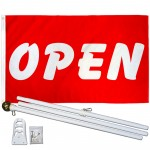 Open Red White Bubble Letters 3' x 5' Polyester Flag, Pole and Mount