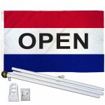 Open Patriotic 3' x 5' Polyester Flag, Pole and Mount