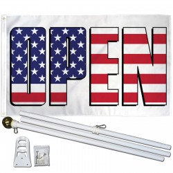 Open USA 3' x 5' Polyester Flag, Pole and Mount