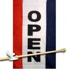 OPEN VERTICAL 3' x 5'  Flag, Pole And Mount.