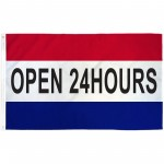 Open 24 Hours Patriotic 3' x 5' Polyester Flag