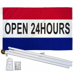 Open 24 Hours Patriotic 3' x 5' Polyester Flag, Pole and Mount