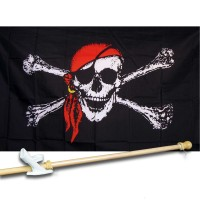 PIRATE RED BANDANNA 3' x 5'  Flag, Pole And Mount.