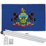 Pennsylvania State 3' x 5' Polyester Flag, Pole and Mount