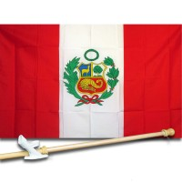 PERU COUNTRY 3' x 5'  Flag, Pole And Mount.