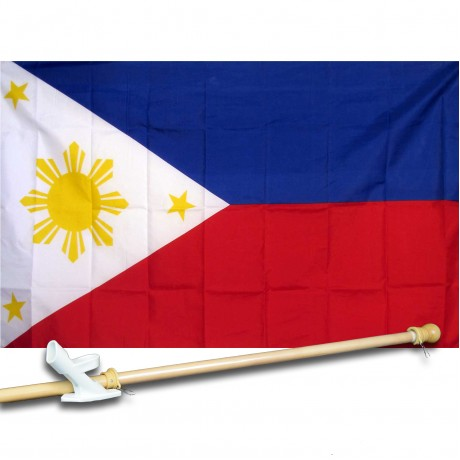 PHILIPINES COUNTRY 3' x 5'  Flag, Pole And Mount.