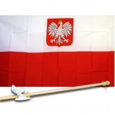 Poland Eagle 3' x 5' Flag, Pole And Mount