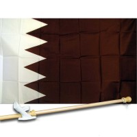 QATAR COUNTRY 3' x 5'  Flag, Pole And Mount.