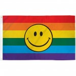 Rainbow Smiley Face 3' x 5' Polyester Flag