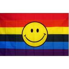 Rainbow Smiley Face 3' x 5' Polyester Flag