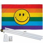 Rainbow Smiley Face 3' x 5' Polyester Flag, Pole and Mount