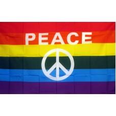 Rainbow Peace Sign 3' x 5' Polyester Flag
