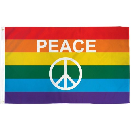 Rainbow Peace Sign 3' x 5' Polyester Flag