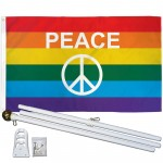 Rainbow Peace Sign 3' x 5' Polyester Flag, Pole and Mount