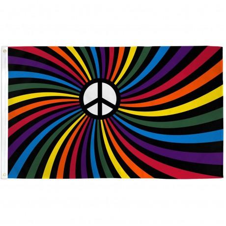 Rainbow Peace Swirl 3' x 5' Polyester Flag