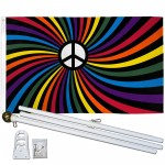 Rainbow Peace Swirl 3' x 5' Polyester Flag, Pole and Mount