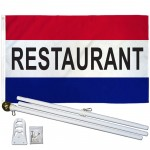 Restaurant Patriotic 3' x 5' Polyester Flag, Pole and Mount