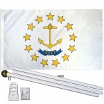 Rhode Island State 3' x 5' Polyester Flag, Pole and Mount