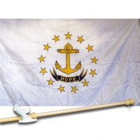 RHODE ISLAND 3' x 5'  Flag, Pole And Mount.