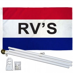 RVs Patriotic 3' x 5' Polyester Flag, Pole and Mount