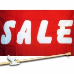 Sale Red White 3' x 5' Polyester Flag, Pole and Mount