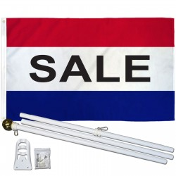 Sale Patriotic 3' x 5' Polyester Flag, Pole and Mount