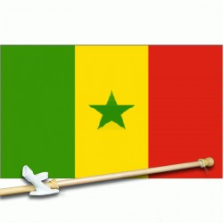 Senegal 3' x 5' Polyester Flag, Pole and Mount