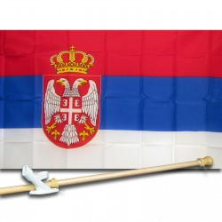 Serbia 3' x 5' Polyester Flag, Pole and Mount