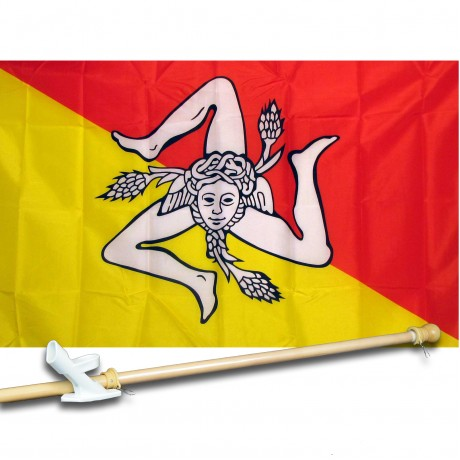 SICILY COUNTRY 3' x 5'  Flag, Pole And Mount.