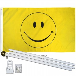 Yellow Smiley Face 3' x 5' Polyester Flag, Pole & Mount