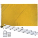 Solid Gold 3' x 5' Polyester Flag, Pole and Mount
