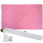 Solid Pink 3' x 5' Polyester Flag, Pole and Mount