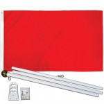 Solid Red 3' x 5' Polyester Flag, Pole and Mount