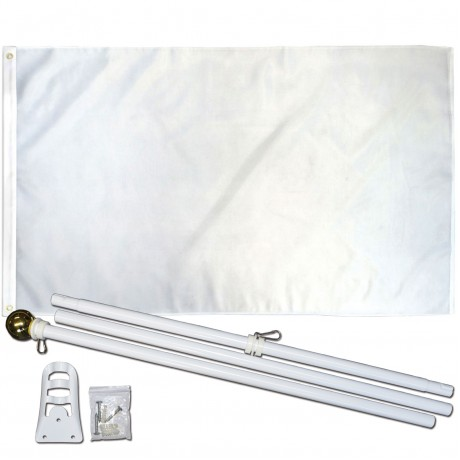 Solid White 3' x 5' Polyester Flag, Pole and Mount