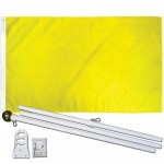 Solid Yellow 3' x 5' Polyester Flag, Pole and Mount