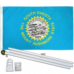 South Dakota State 3' x 5' Polyester Flag, Pole and Mount