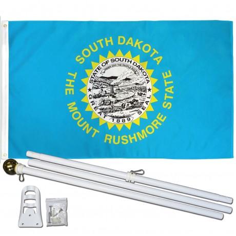 South Dakota State 3' x 5' Polyester Flag, Pole and Mount