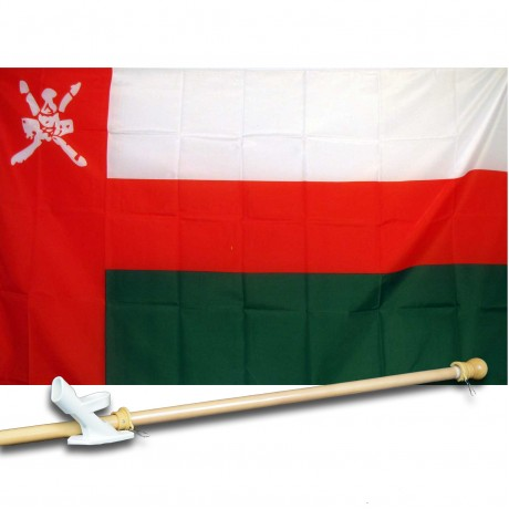 SULTANATE OMAN COUNTRY 3' x 5'  Flag, Pole And Mount.