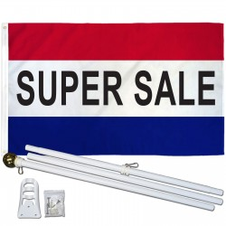 Super Sale Patriotic 3' x 5' Polyester Flag, Pole and Mount