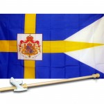 Sweden Royal 3' x 5' Polyester Flag, Pole and Mount