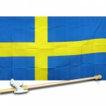 Sweden 3' x 5' Polyester Flag, Pole and Mount