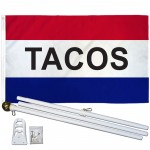 Tacos Patriotic 3' x 5' Polyester Flag, Pole and Mount